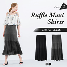 OB CLUB ★ OBDESIGN ★ ORANGEBEAR ★ PEASANT RUFFLE MAXI SKIRTS ★ S-XXXXL SIZE ★ PLUS SIZE ★ VARIOUS COLOR ★ OFFICE ★ TRAVEL ★ WEEKEND ★ HOLIDAY ★ WORK ★ CASUAL ★ COMFY