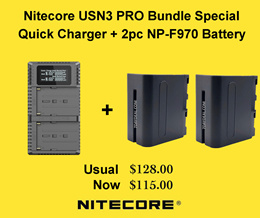 Nitecore USN3 PRO Dual Slot USB Charger + 2 Pieces NP-F970 Battery (BUNDLE DEAL)