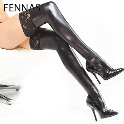 6a4ba323d4 FENNASI Sexy Women Lace Floral Leather Thigh High Hold Up Stockings  Silicone Black Latex Stay Up