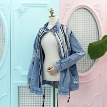 ★ Korean clothing fashion cp027 ★ Sequin denim jacket Night / Safari ♥ Unique new style women&#39 s