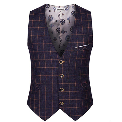 7b7b57ef22 High Quality 2018 Spring Autumn Men Plaid Suit Vests Male Single Breasted  V-Neck Business Casual Ves