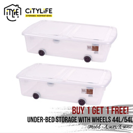 [BUY 1 GET 1 FREE] Citylife Under-bed Storage Container with Wheels (44L / 54L) ~ Storage Spacesaver