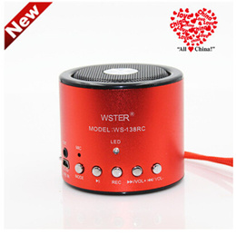 Portable card small speaker mini stereo u disk player subwoofer MP3 player with recording radio