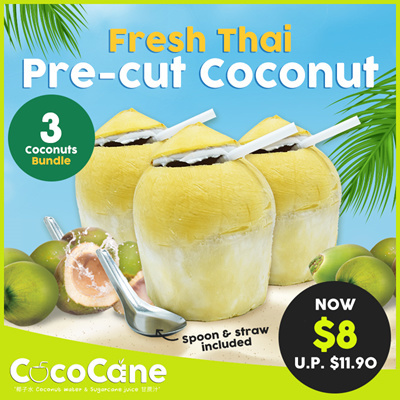 3 x Fresh Thai Pre-Cut Coconut (UP$11.90)