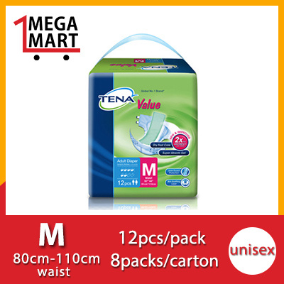 [Use Qoo10 Coupon][Free Shipping][Free Wipes][Free 8 pcs] TENA Value M / L Adult Diapers Deals for only S$79.9 instead of S$0