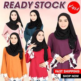 NO OPTION PRICE【READY STOCK】Self Pattern Muslimah Blouse [M14227]