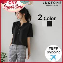 [JUSTONE👚] Firenze chiffon short-sleeved T-shirt / Free Shipping / Korean Fashion