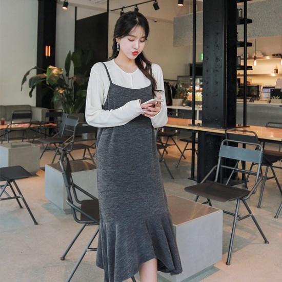 ジェイ・スタイルビックサイズポリコビュスチェワンピース 大きいサイズ/ワンピース/韓国ファッション
