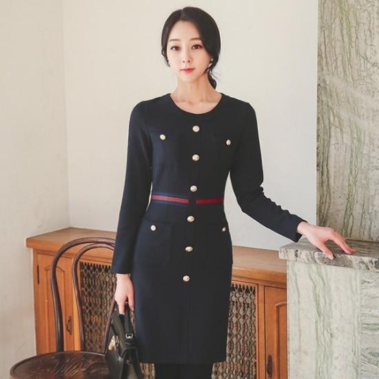 オッドポケットボタンワンピースDRH571 スーツワンピース/ 韓国ファッション