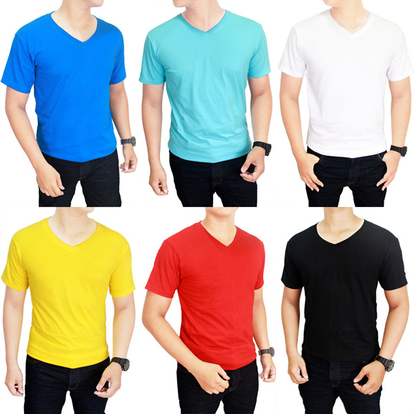 Basic Tshirt-Kaos Polos V Neck Lengan Pendek-100% Cotton-Size MLXL[New Update Deals for only Rp54.000 instead of Rp54.000