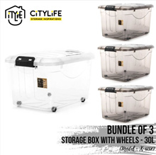 [BUNDLE OF 3] Citylife Storage box with Wheels - 30L