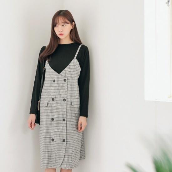 ロロテンシアチェックひもOPS 綿ワンピース/ 韓国ファッション