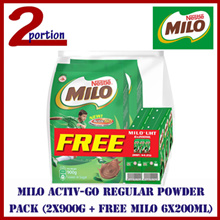 [FREE 6 PACKET] MILO ACTIV-GO Regular Powder Pack (2x900g + Free MILO 6x200ml)