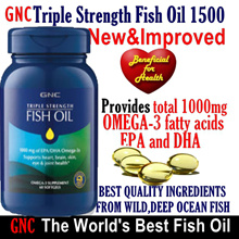 [10SGDoff any order] 72% OFF RETAIL! GNC Triple Strength Fish Oil 1500 / 60 Days/DHA/EPA/Omega3/6