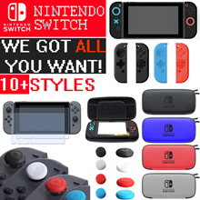 For Nintendo Switch  Tempered Glass Protector Bag Case Silicone Grip Joystick Controller Cover