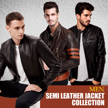 [★★★ BEST SELLERS ★★ Semi Leather Jacket Denim and Fleece