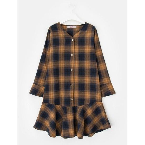 エイトセカンズ女性のネイビーコットンチェックフレアワンピース127771BXDR 面ワンピース/ 韓国ファッション