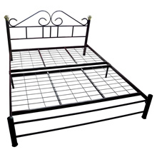 KD208 Queen Size Metal Bed Frame (Double Bed) Maroon Colour