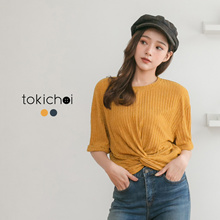 TOKICHOI - Knotted Tie-Front Crop Top-181793-Winter