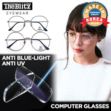 [TheBlitzKorea] *Made in Korea* 👓 UV Blue Light Computer Glasses Protect Eyes Cut BlueLight by 40% Rectangle AND CASE