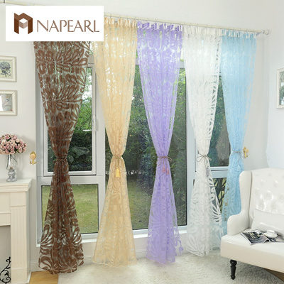 Floral design blue curtain tulle fabrics sheer curtains for bedroom window  sheer curtain panels flor