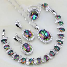 925 Silver Jewelry Sets Rainbow Mystic Fire Topaz For Women Wedding Necklace Pendant Earrings Bracel