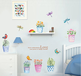 Colorful Flower pot - Wall Sticker Decals Wall Art For Home Living Room Bedroom