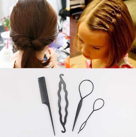 4Pcs Set Plastic Magic Topsy Tail Hair Braid Ponytail Styling Maker Clip Tools