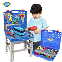 The Little Bus Tayo Electric Tools Table Play Set/ Multi Tool Set /Screwdriver/ Drill/ Saw/Bolts