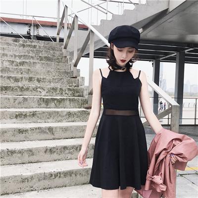 Summer Korean Style Chic Sexy Cross Halter Strap Dress Up Waist Show