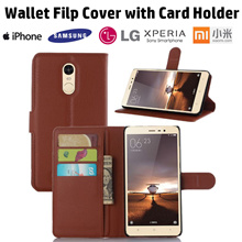 【Wallet Covers】Litchi Veins Wallet PU Flip Cover with Card Holder for IPhone  Samsung Huawei Oppo