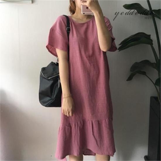 はいトト行き来するようにはいトトリンネンガーゼのワンピース プリントのワンピース/ 韓国ファッション