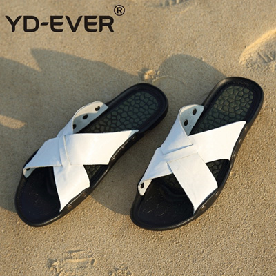 448b3198689a discount YD-EVER genuine leather men sandals handmade Summer fashion brand  beach slippers casual moc