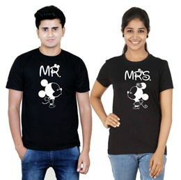 Osiyankart Black couple t shirt Mr. Mickey Mrs Minnie 4 hot & sexy couples in lo [CES]