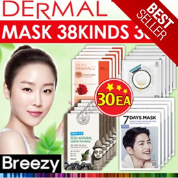 30EA SET! [DERMAL Cosmetic] Dermal Collagen Essential Mask 30EA / 38 kinds / Skin