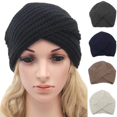 factory Fashion Women Knitted Turban Hat India Plate Head Cap Autumn Winter  Keep Warm Cute Beanies df96f114467