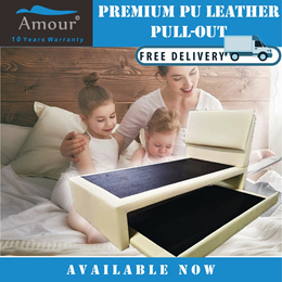 Amour® Deluxe Super Single Size PU leather Pull out bed + Single Size Pull out bed