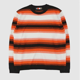 573cd2fc647  free shipping  UNISEX  ORANGE LINE POINT KNIT SWEATER
