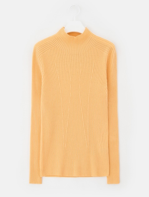 8SECONDS [Whole Garment Knit] Solid Ribbed High Neck Pullover - Salmon