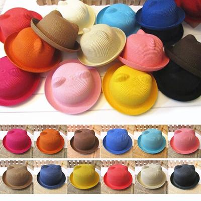 f9a7b4f458d 1pcs Cartoon Ears Straw Hats Baby Hats For Girls Bucket Hat Boys Cap  Children Sun Summer