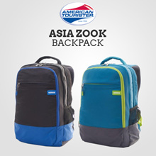 AMERICAN TOURISTER Asia Zook Backpack 02 / Black / Capri Blue / One Year Warranty