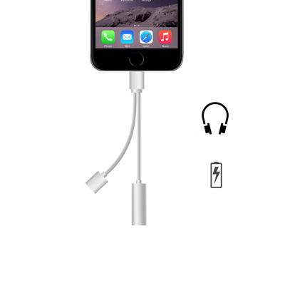 2 in 1 for lightning to 3.5mm Headphone Jack Adapter Charge Cable For iPhone