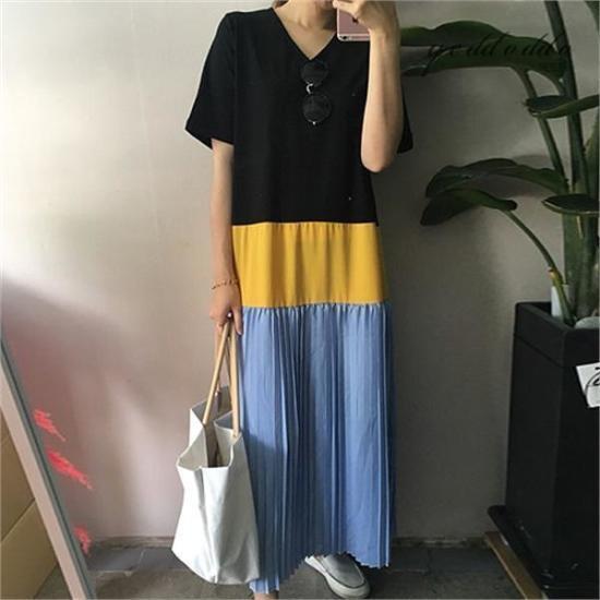 はいトト行き来するようにはいトト三段しわワンピース プリントのワンピース/ 韓国ファッション