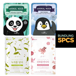 [BUNDLING 5PCS] Korean Brands Mask / Mask Pack Collection_Animal Mask/Mienu/Twin Derma/Pretty Skin