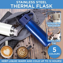 Premium Grade Stainless Steel Thermal Flask Vacuum Drinking Cup Mug Flip Cover for Hot / Cold drink