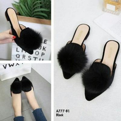 Sepatu flat shoes sandal teplek pompom SR46 HITAM adl822 terbaru PROMO