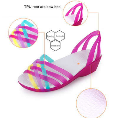 dc1aacdf9 authentic Women Sandals 2018 Summer New Candy Color Women Shoes Croc Jelly  Shoes Woman Flats Fashion