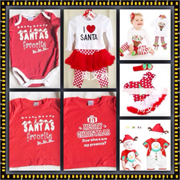Christmas Sale T-shirt Romper Kids wear Dress Santa Costumes Collection For Baby Boys/ Girls
