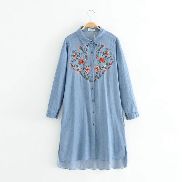 新型百搭2017秋服、ゆったりコード着やせに長め花刺繍デニムシャツワンピース