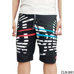 Celana Pendek Santai Pria Polyester Hitam Kombinasi – CLN 891